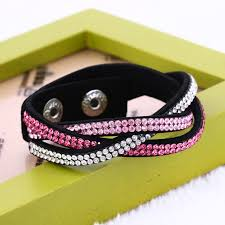 rhinestone leather wrap bracelet images Cheap summer multilayer wrap bracelet rhinestone bling slake jpg