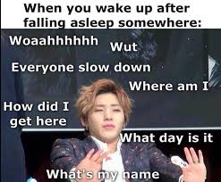 Meme Sleep - jongup b a p waking up sleep confusion