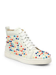 christian louboutin louis woman studded leather wedge sneakers in