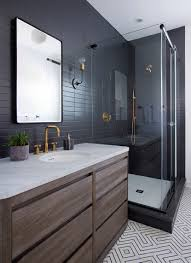 Dark Bathroom Ideas Sleek Modern Dark Bathroom With Glossy Tiled Walls Threshold