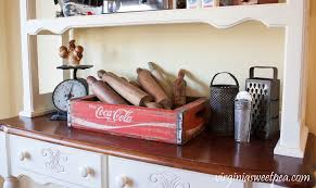 kitchen hutch with vintage farmhouse decor sweet pea