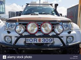 stock jeep headlights headlights on heavily modified 4x4 for off road driving reykjavik