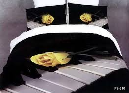 Duvet Comforter Set 3d Black And White Rose Music Note Floral Bedding Comforter Set