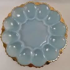 vintage deviled egg plates vintage king glass blue delphite deviled egg plate dish