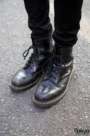 cool harajuku guy in black leather jacket skinny jeans u0026 boots