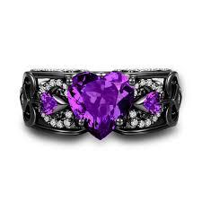 black and purple engagement rings amethys ring black and purple unique engagement ring for
