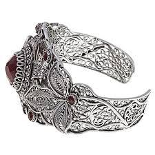 ottoman silver jewelry collection red corundum cuff bracelet