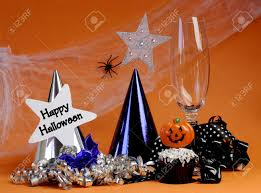 happy halloween party decorations with cobweb and spider