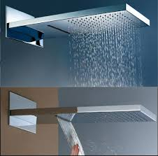 modern innovative bathroom rain shower design with unique shaped