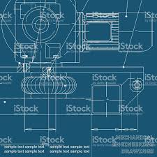 Blueprints by Mechanical Engineering Drawings On A Blue Background Blueprints