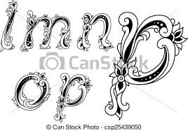 clipart vector of decorative alphabet letters with floral elements