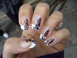 white tips pink u0026 black nail art gallery