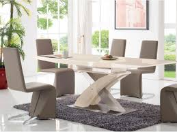 2122 dining table light cappuccino color with 365 chairs white