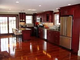 cherry cabinets and dark floors just not sure about what color