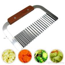 Knives For Kitchen Use Potato Wavy Edged Knife Stainless Steel Wood Handle Kitchen Gadget