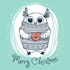 hand drawn vector illustration with cute eagle owl merry
