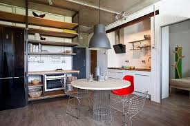 Small Modern Industrial Apartment Draped In Metal Wood And Brick - Modern small apartment design