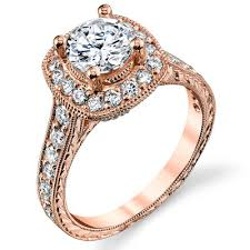 gold square rings images Two toned white and rose gold diamond halo engagement ring jpg