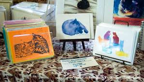 printed cards portraits of animals