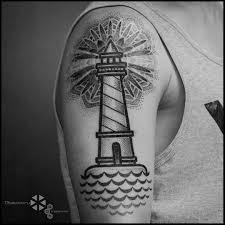dotwork lighthouse tattoo on shoulder best tattoo ideas gallery