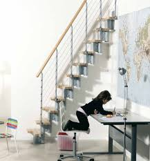 georgeus stairs design for small space with cream wooden storage