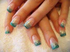 acrylic nails blue glitter sparkly rockstar nails pinterest