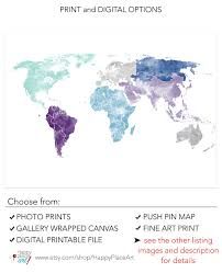 Large World Map Poster by Large World Map Wall Art Poster With Personalised Text Or