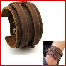 bracelet cuir homme images Bracelet cuir homme force manchette marron antique achat vente jpg