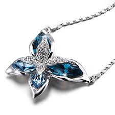 swarovski necklace butterfly images Sivery ocean blue butterfly women pendant necklace made with jpg