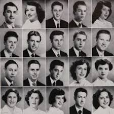 find high school yearbook hair of 1950 at beverly high school in california 1950