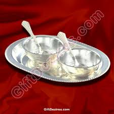 silver gift items silver gift items 2 bowls and spoons with tray gd 102276