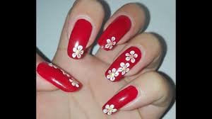 easy red and white diy flower nail art tutorial no tools nail art