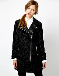biker coat asos oasis faux pony fur biker coat in black lyst