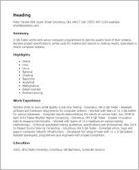 Quality Analyst Resume Professional Jr Qa Tester Templates To Showcase Your Talent