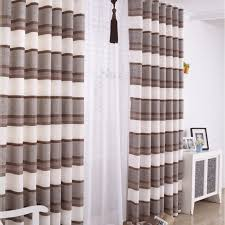 Striped Linen Curtains Decorations Vintage Cotton And Linen Blended Lined Horizontal