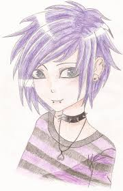 Emo Hairstyles Drawings by Emo Guy With Purple Hair By Kimt331 On Deviantart