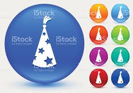wizard hat icon on shiny color circle buttons stock vector art