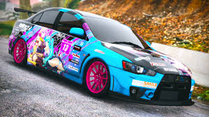 mitsubishi custom cars miku x luka itasha for mitsubishi evolution x gta5 mods com