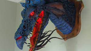 paper dragons paper mache trophy of maleficent