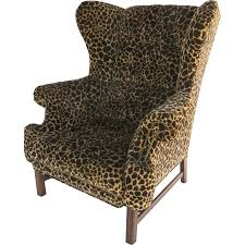 Velvet Wingback Chair Large Scale Vintage Wing Chair With Straight Legs And Stretcher
