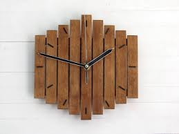 romb i wooden wall clock creative space room geometric hanging
