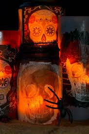 Halloween Day Decoration Day Of The Dead Crafts Decorative Luminaries Mod Podge Rocks