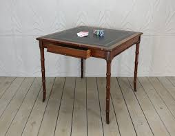 coffee table leather top vintage faux bamboo leather top game card table hollywood