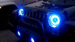 light blue jeep oracle halo lights on jeep jk by ace tire youtube