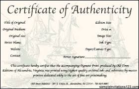 certificate of authenticity template word sample invitations
