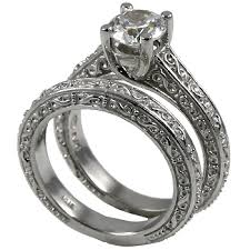 wedding set sterling silver antique style wedding set cz cubic zirconia ring