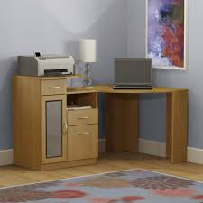light brown particle wood corner computer table with frosted glass