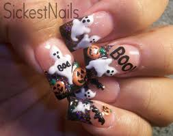 halloween ghost pumpkin my halloween acrylic nails cute 3d ghost pumpkins bats 6 make