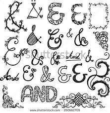 ampersandscatchwords ornamental scroll stock vector