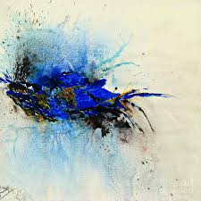 magical blue abstract art painting by ismeta gruenwald